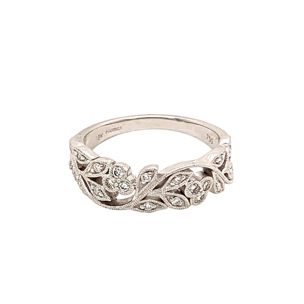 Leaf Design 18ct White Gold Diamond Ring