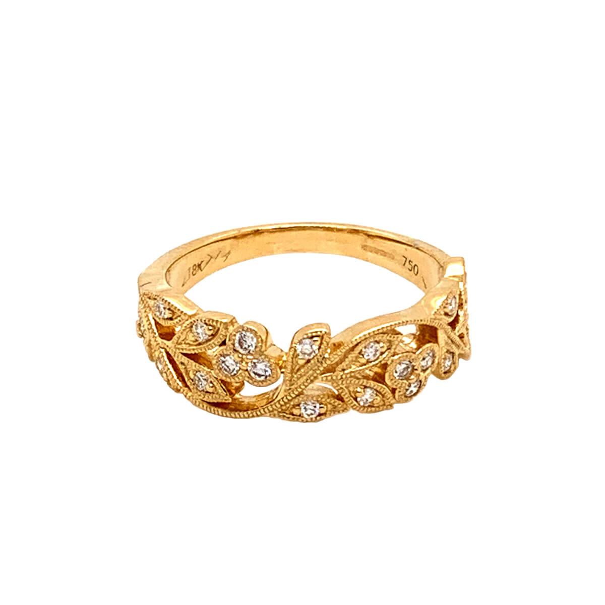 Leaf Design 18ct Yellow Gold Diamond Ring