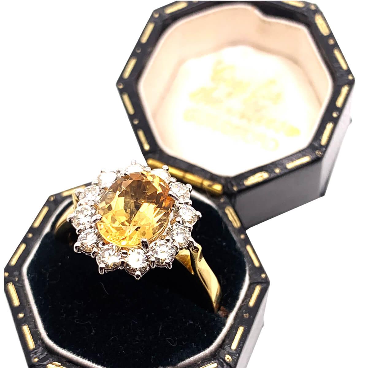 Golden Topaz & Diamond Cluster Ring