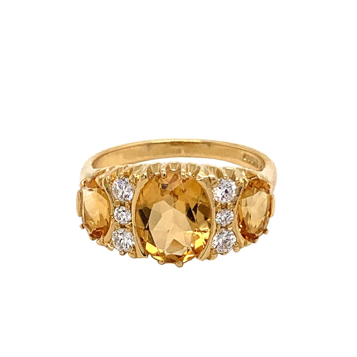 Citrine & Diamond Three Stone Ring