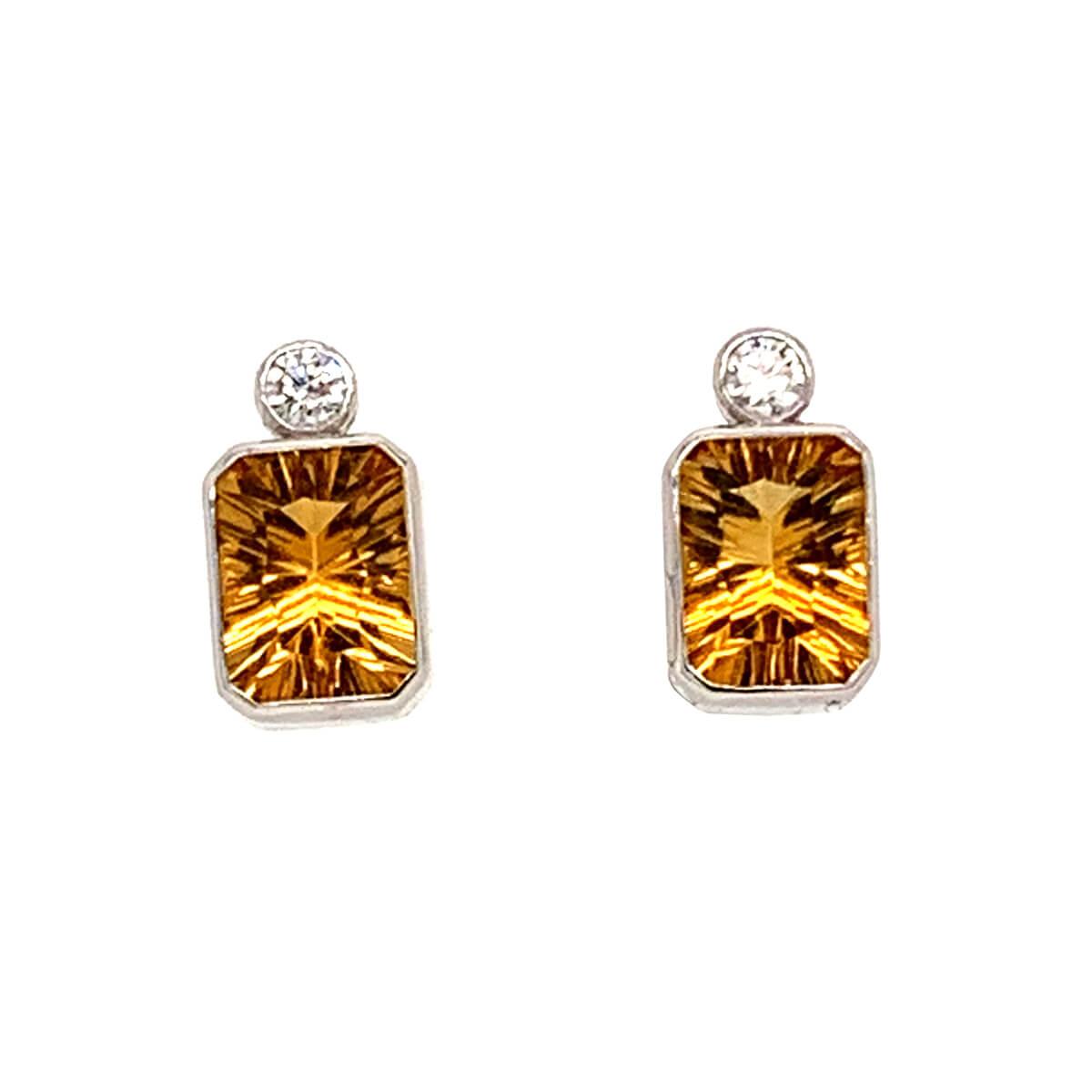 Citrine & Diamond Rubover Set Stud Earrings