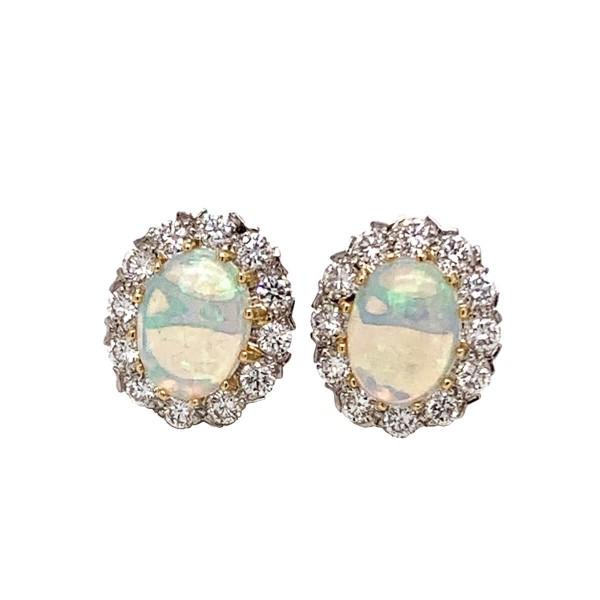 Opal Diamond Cluster Earrings