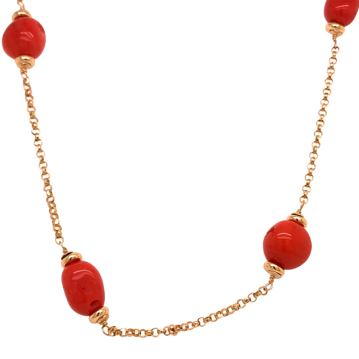 18ct Yellow Gold and Coral Necklace