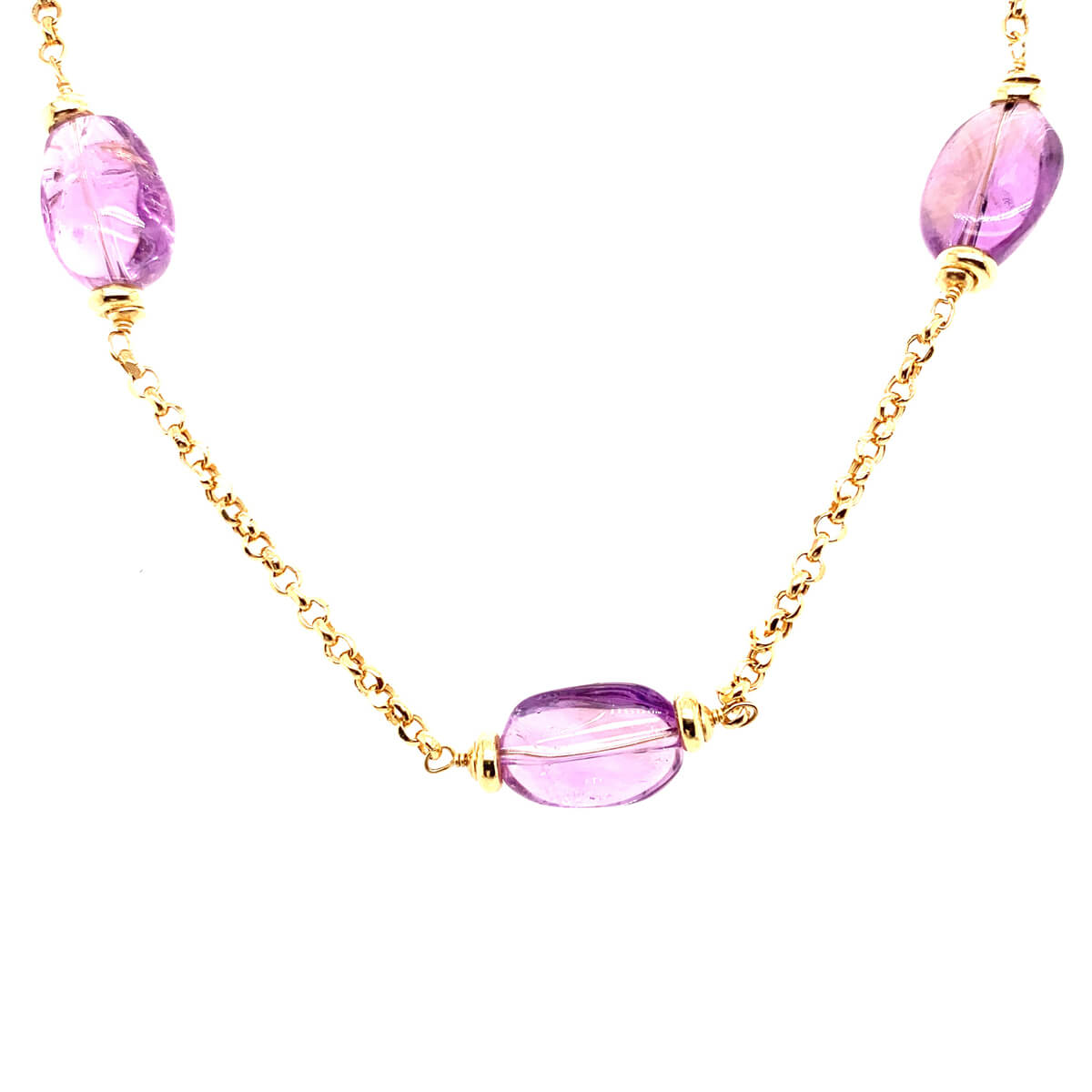 18ct Yellow Gold Chain & Amethyst Necklace