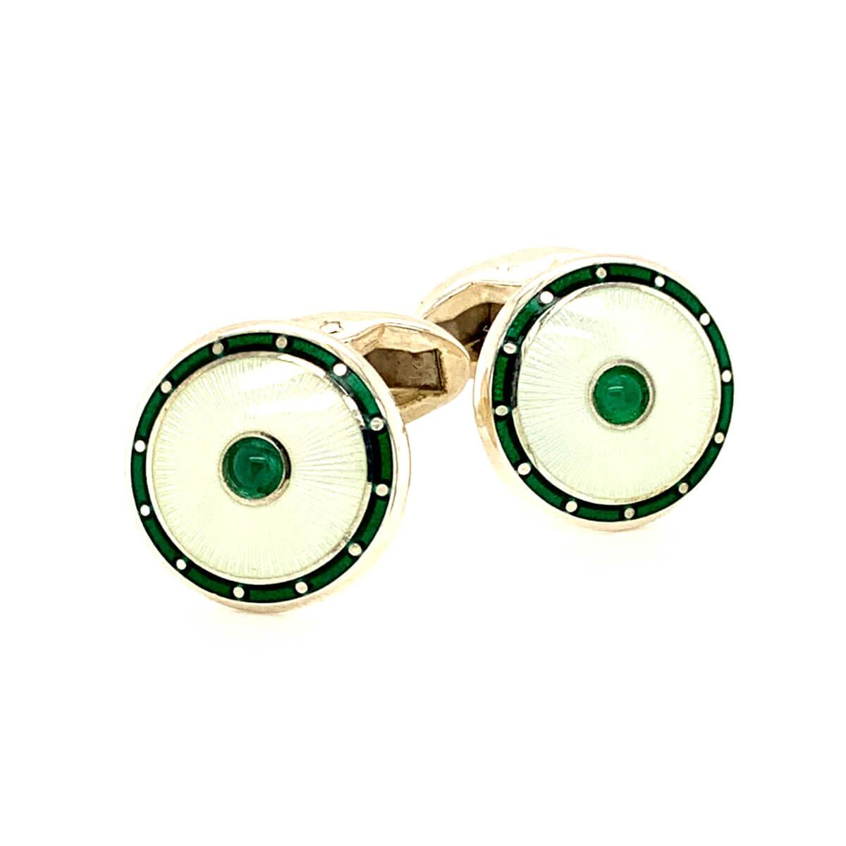 Silver Emerald and Enamel Cufflinks