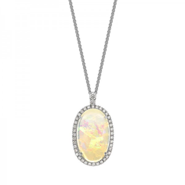 Opal Diamond Cluster Pendant